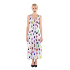 Paw Prints Background Sleeveless Maxi Dress