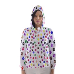 Paw Prints Background Hooded Wind Breaker (women)