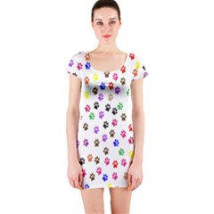 Paw Prints Background Short Sleeve Bodycon Dress