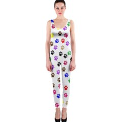 Paw Prints Background Onepiece Catsuit