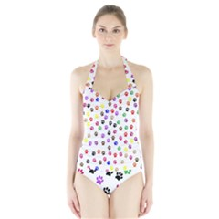 Paw Prints Background Halter Swimsuit