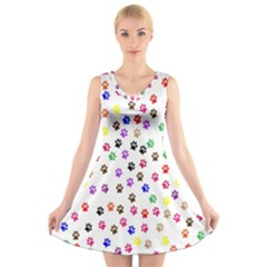 Paw Prints Background V Neck Sleeveless Skater Dress