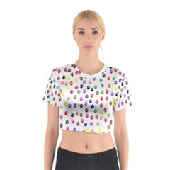 Paw Prints Background Cotton Crop Top