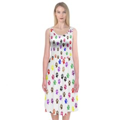 Paw Prints Background Midi Sleeveless Dress