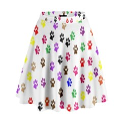 Paw Prints Background High Waist Skirt