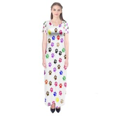 Paw Prints Background Short Sleeve Maxi Dress