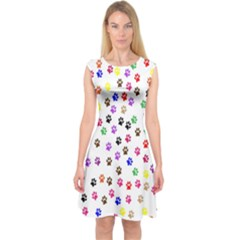 Paw Prints Background Capsleeve Midi Dress
