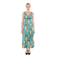 Dog Animal Pattern Sleeveless Maxi Dress
