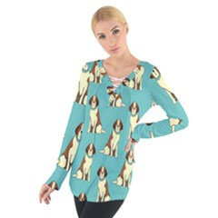 Dog Animal Pattern Women s Tie Up Tee
