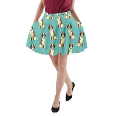 Dog Animal Pattern A Line Pocket Skirt
