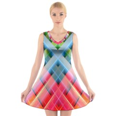 Graphics Colorful Colors Wallpaper Graphic Design V Neck Sleeveless Skater Dress