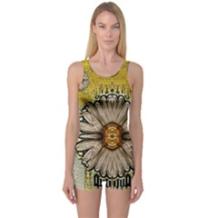 Power To The Big Flower One Piece Boyleg Swimsuit
