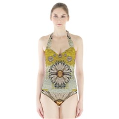 Power To The Big Flower Halter Swimsuit