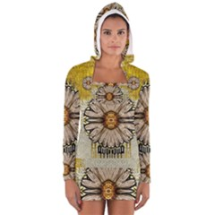 Power To The Big Flower Women s Long Sleeve Hooded T-shirt