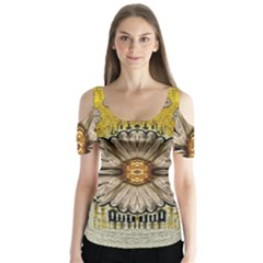 Power To The Big Flower Butterfly Sleeve Cutout Tee