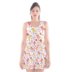 Animal Pattern Happy Birds Seamless Pattern Scoop Neck Skater Dress