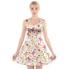 Animal Pattern Happy Birds Seamless Pattern V Neck Sleeveless Skater Dress
