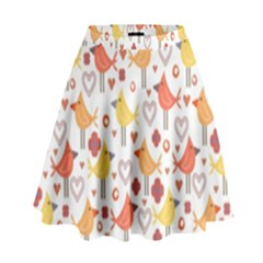 Animal Pattern Happy Birds Seamless Pattern High Waist Skirt