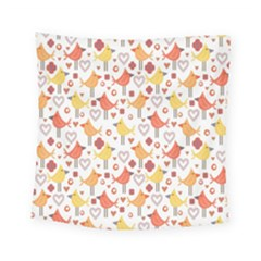 Animal Pattern Happy Birds Seamless Pattern Square Tapestry (small)