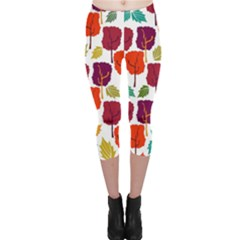 Tree Pattern Background Capri Leggings