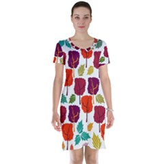 Tree Pattern Background Short Sleeve Nightdress