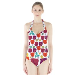 Tree Pattern Background Halter Swimsuit