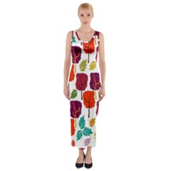 Tree Pattern Background Fitted Maxi Dress