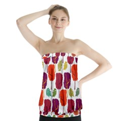 Tree Pattern Background Strapless Top