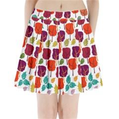 Tree Pattern Background Pleated Mini Skirt