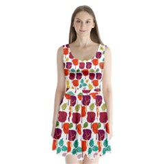 Tree Pattern Background Split Back Mini Dress