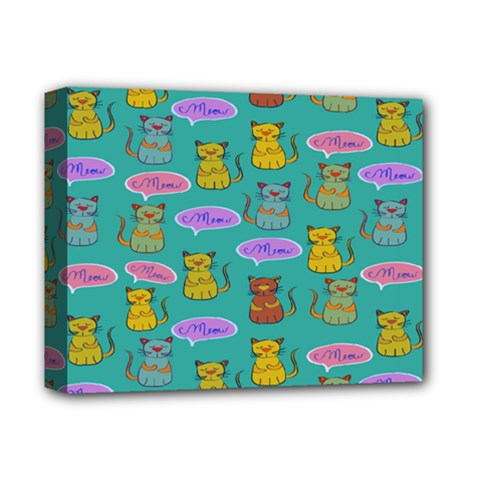 Meow Cat Pattern Deluxe Canvas 14  X 11