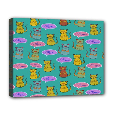 Meow Cat Pattern Deluxe Canvas 20  X 16