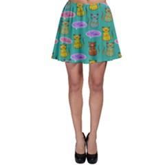 Meow Cat Pattern Skater Skirt