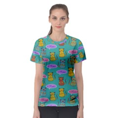 Meow Cat Pattern Women s Sport Mesh Tee