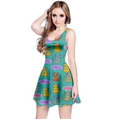 Meow Cat Pattern Reversible Sleeveless Dress