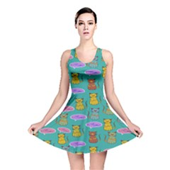 Meow Cat Pattern Reversible Skater Dress
