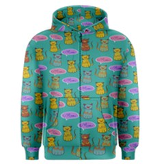 Meow Cat Pattern Men s Zipper Hoodie