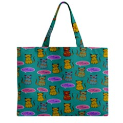 Meow Cat Pattern Zipper Mini Tote Bag