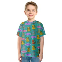 Meow Cat Pattern Kids  Sport Mesh Tee