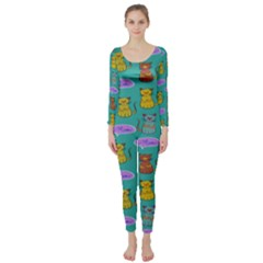 Meow Cat Pattern Long Sleeve Catsuit