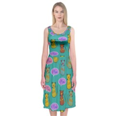 Meow Cat Pattern Midi Sleeveless Dress