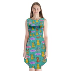 Meow Cat Pattern Sleeveless Chiffon Dress