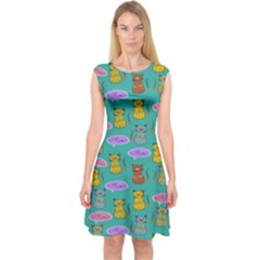 Meow Cat Pattern Capsleeve Midi Dress