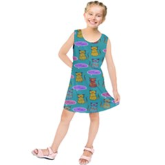 Meow Cat Pattern Kids  Tunic Dress