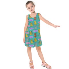 Meow Cat Pattern Kids  Sleeveless Dress