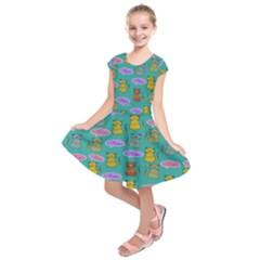 Meow Cat Pattern Kids  Short Sleeve Dress