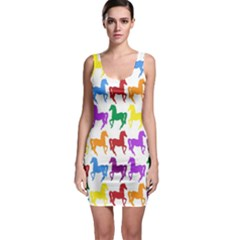 Colorful Horse Background Wallpaper Sleeveless Bodycon Dress