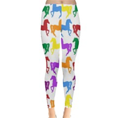 Colorful Horse Background Wallpaper Leggings