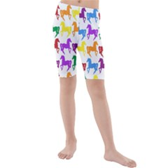 Colorful Horse Background Wallpaper Kids  Mid Length Swim Shorts