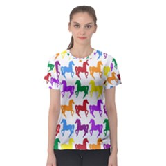 Colorful Horse Background Wallpaper Women s Sport Mesh Tee